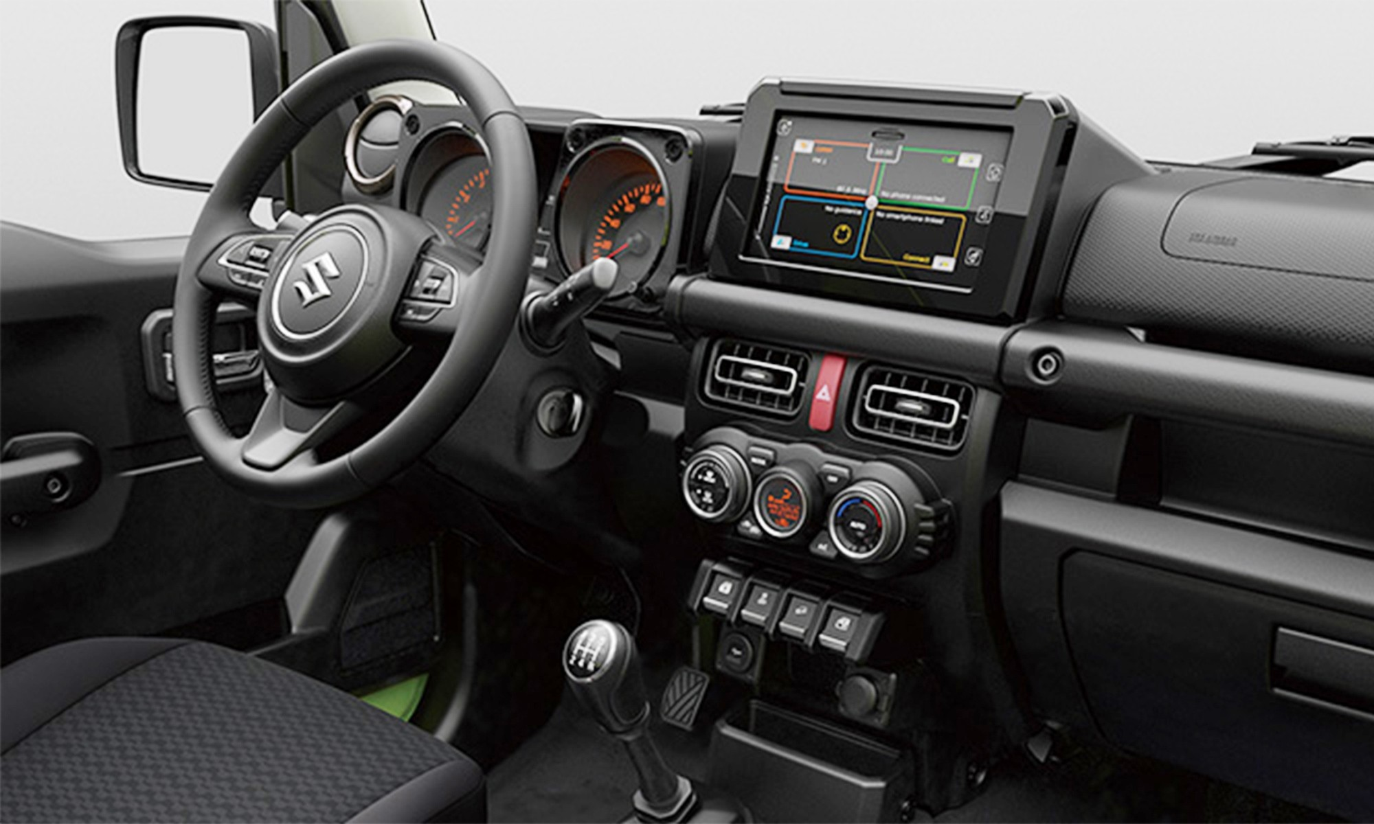 Note the colour screen and buttons on the steering wheel