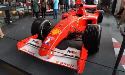 One of seven Ferraris on display