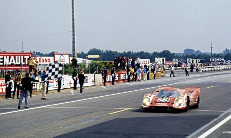 Porsche 917 takes the flag for Porsche at Le Mans