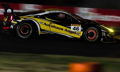 Racing into darkness creates great, unique images such as these glowing brake discs of the Ferrari 458 GT3.
