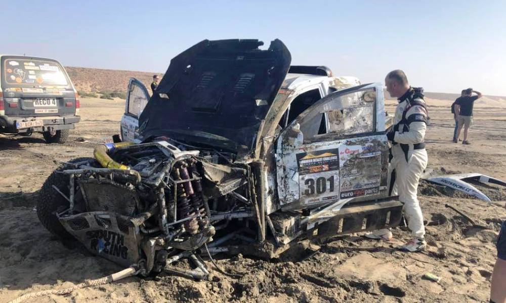 Incredibly the driver and co-drive were uninjured