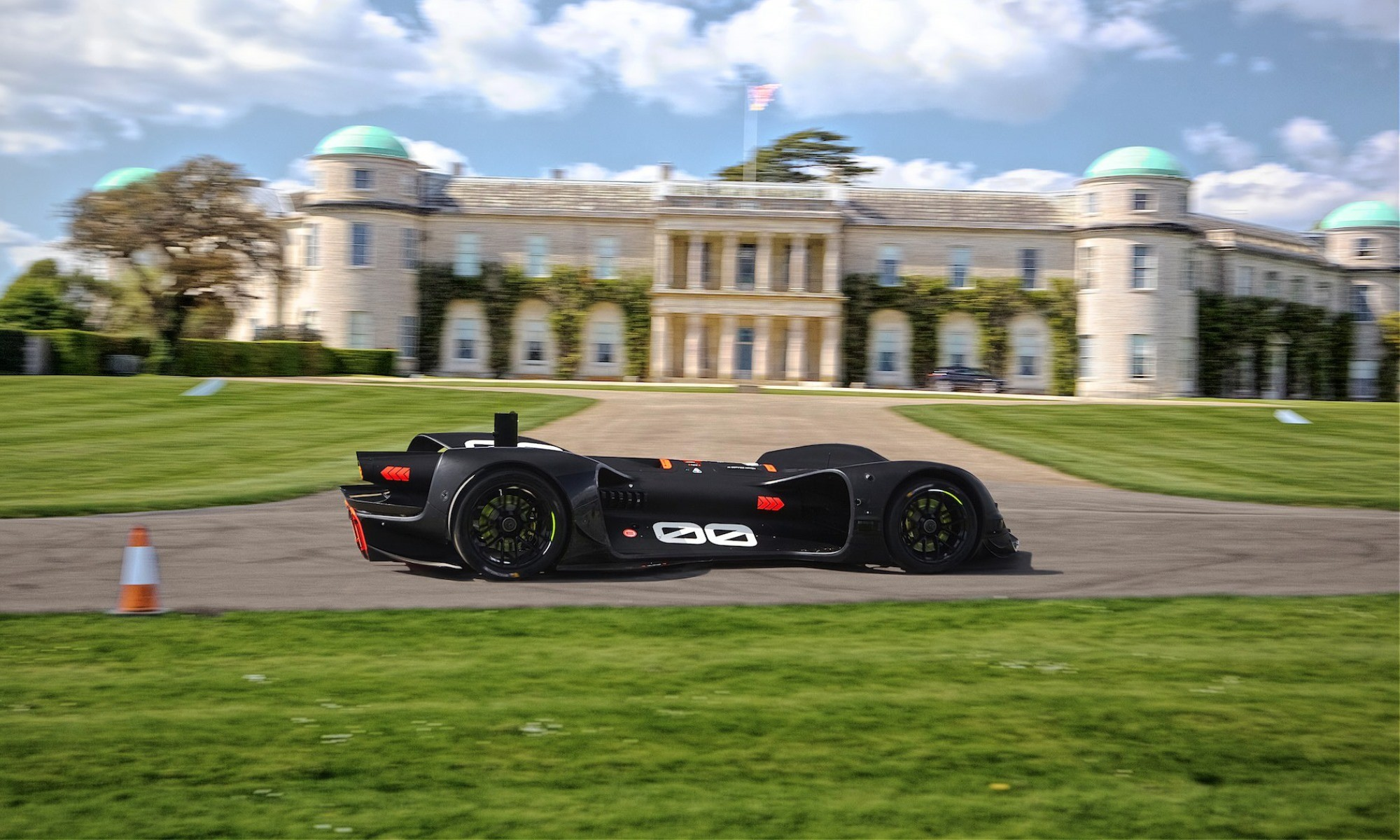 Robocar driving by Goodwood House during testing
