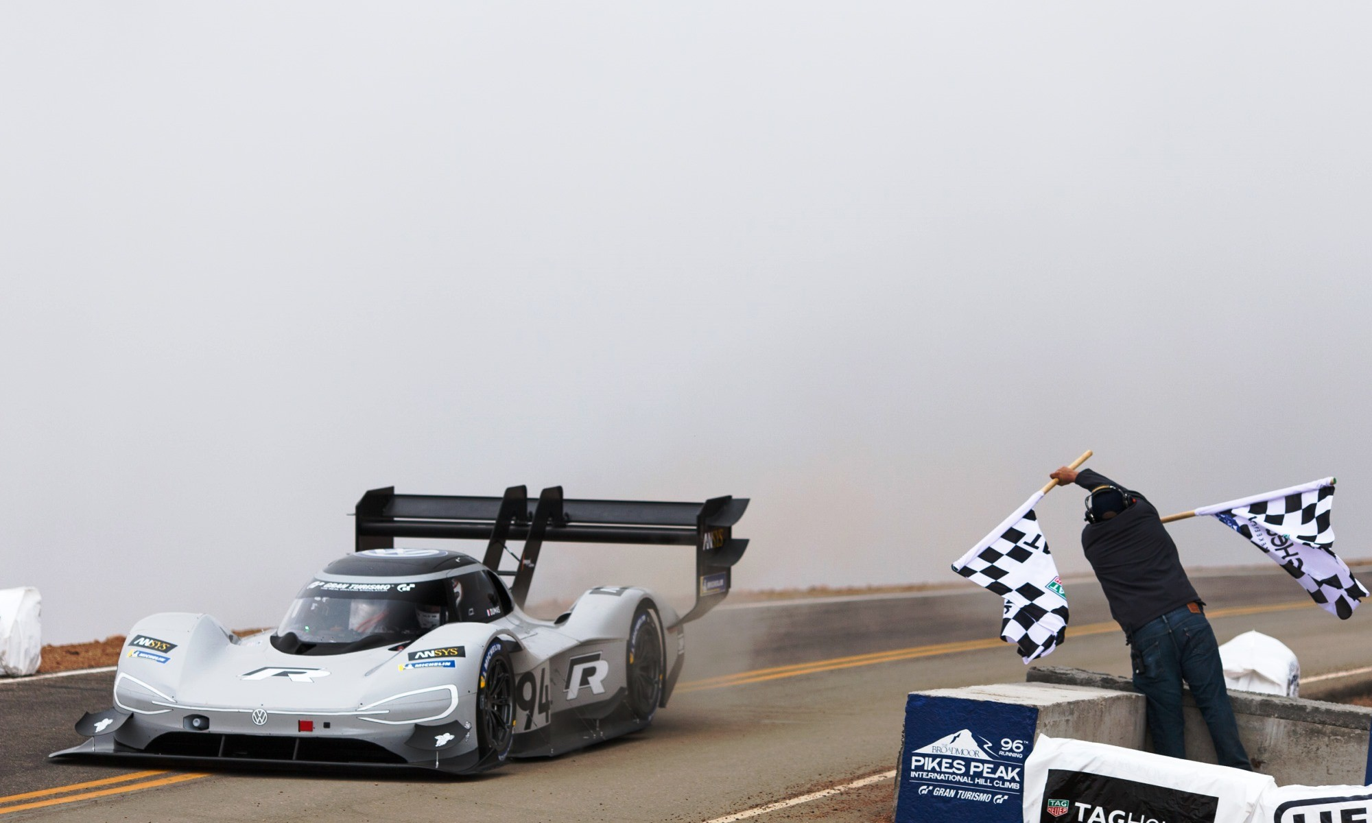 Romain Dumas takes the flag at Pikes Peak