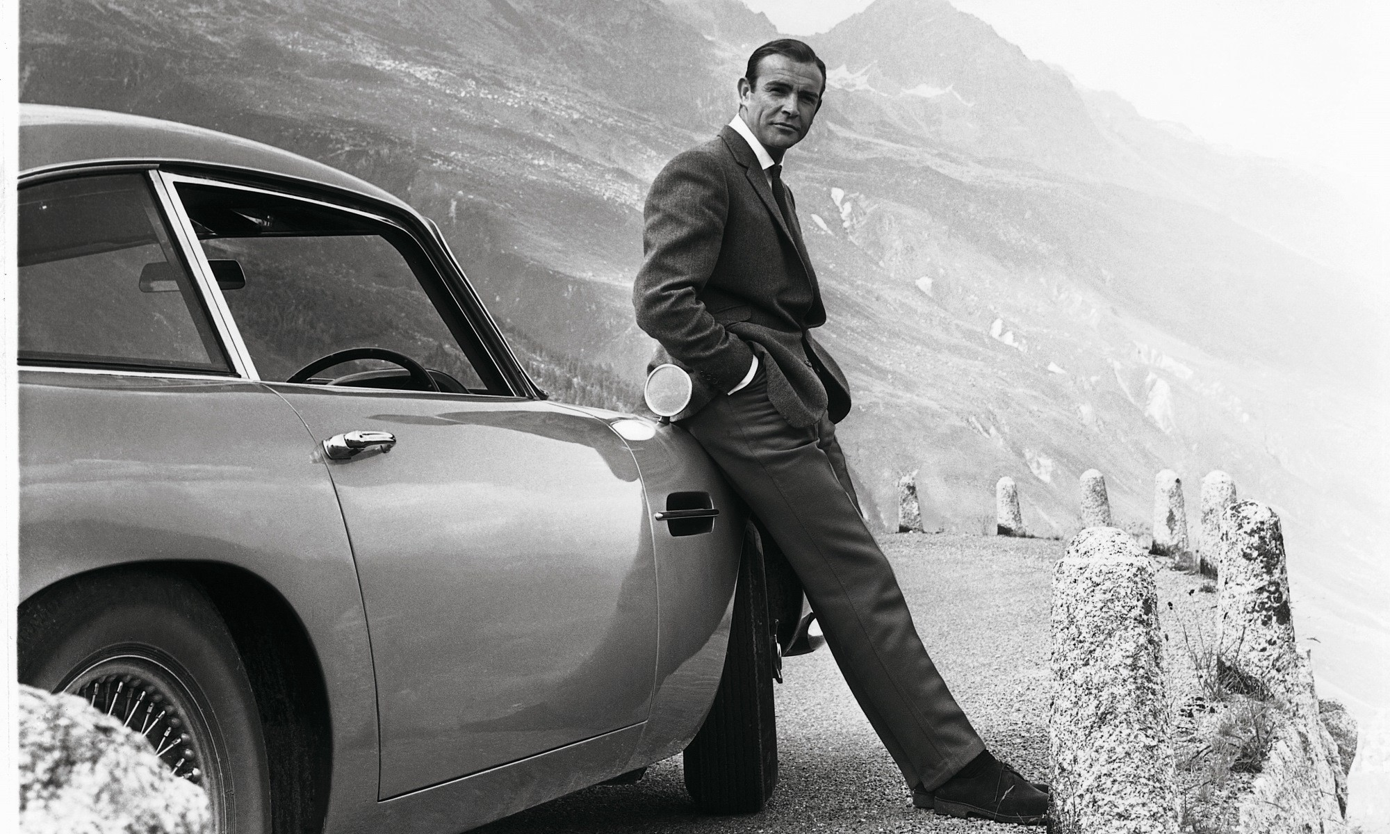 Sean Connery as James Bond with the Aston Martin DB5