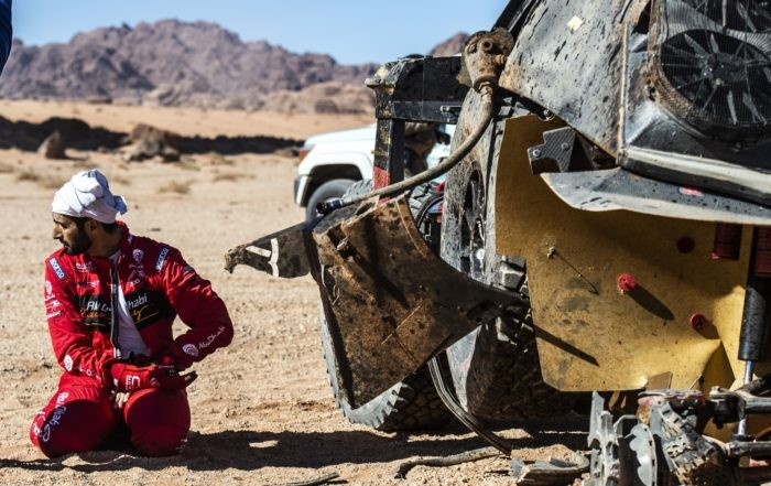 Sheikh Khalid Al Qassimi and Xavier Panseri crashed their Peugeot 3008 DKR during Stage 3 of Dakar 2020 on January 7 (Photo Charly Lopez for ASO)