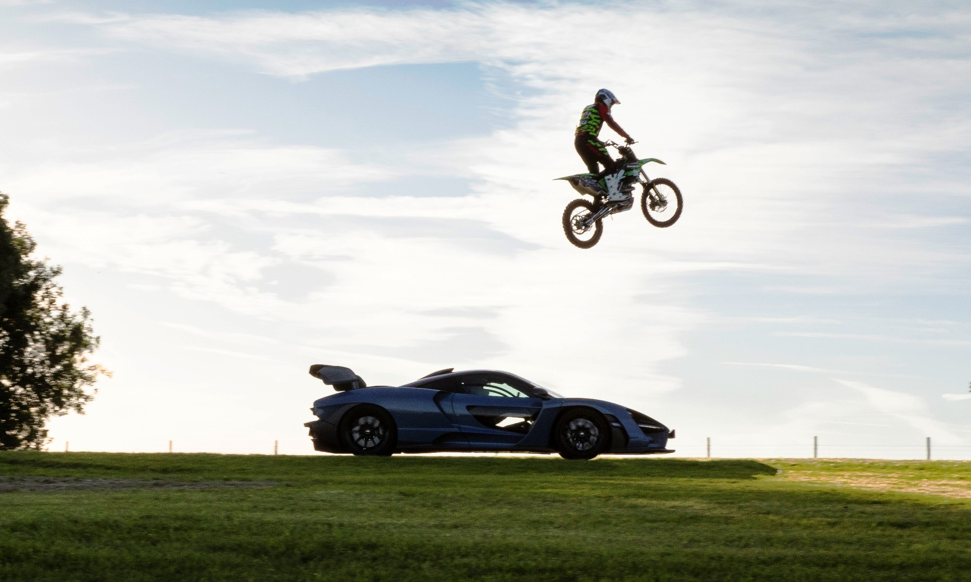 Snapshot of the McLaren Senna vs motorcross