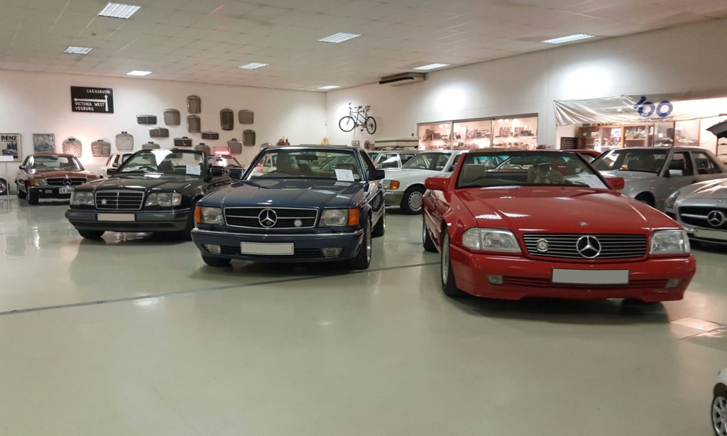 Some of the more modern models in the Mercseum. A neat SL500, a 560SEC on AMG wheels and a W124 cabriolet.