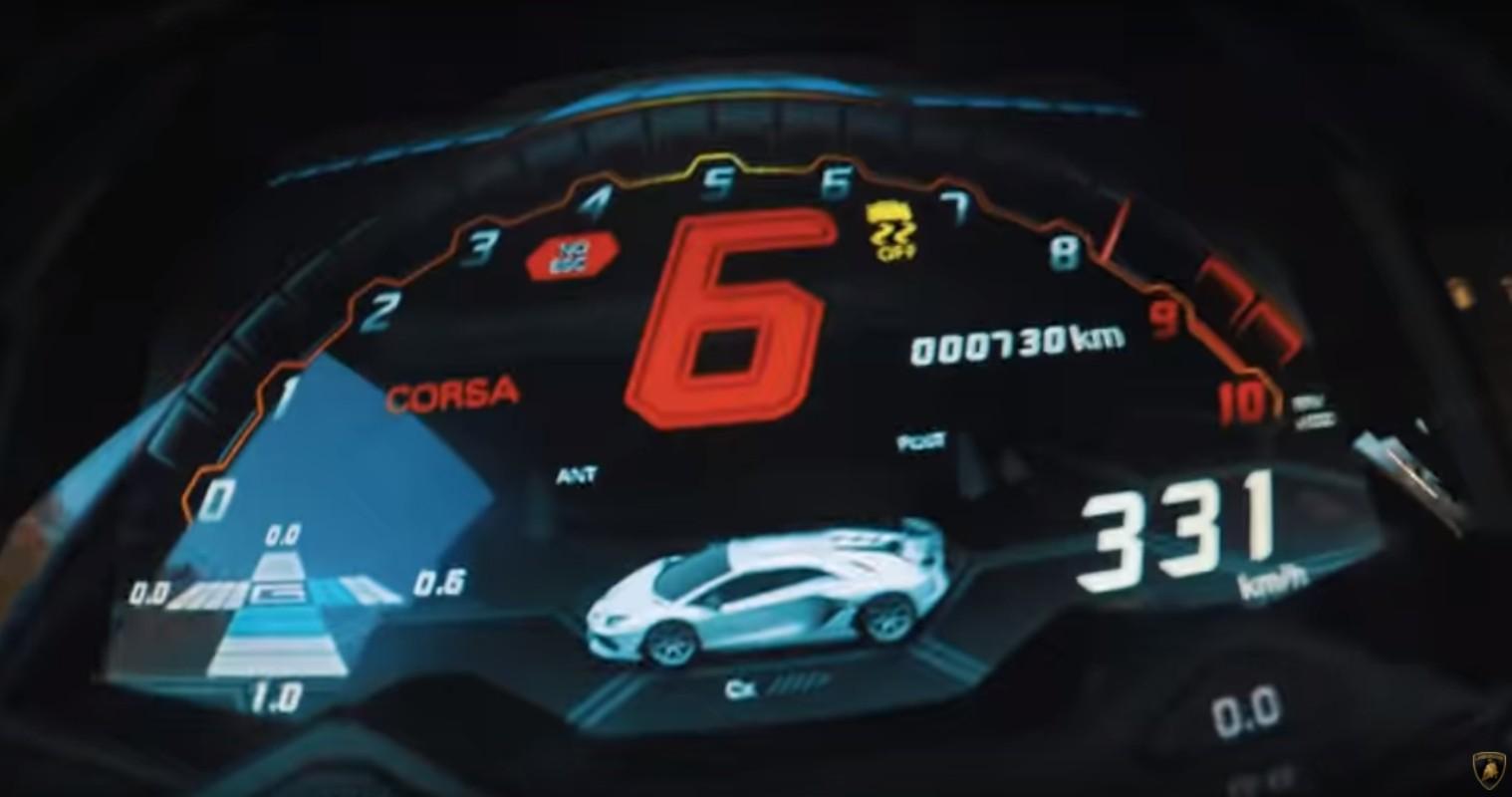 SVJ's speedo reading in excess of 331 km/h.