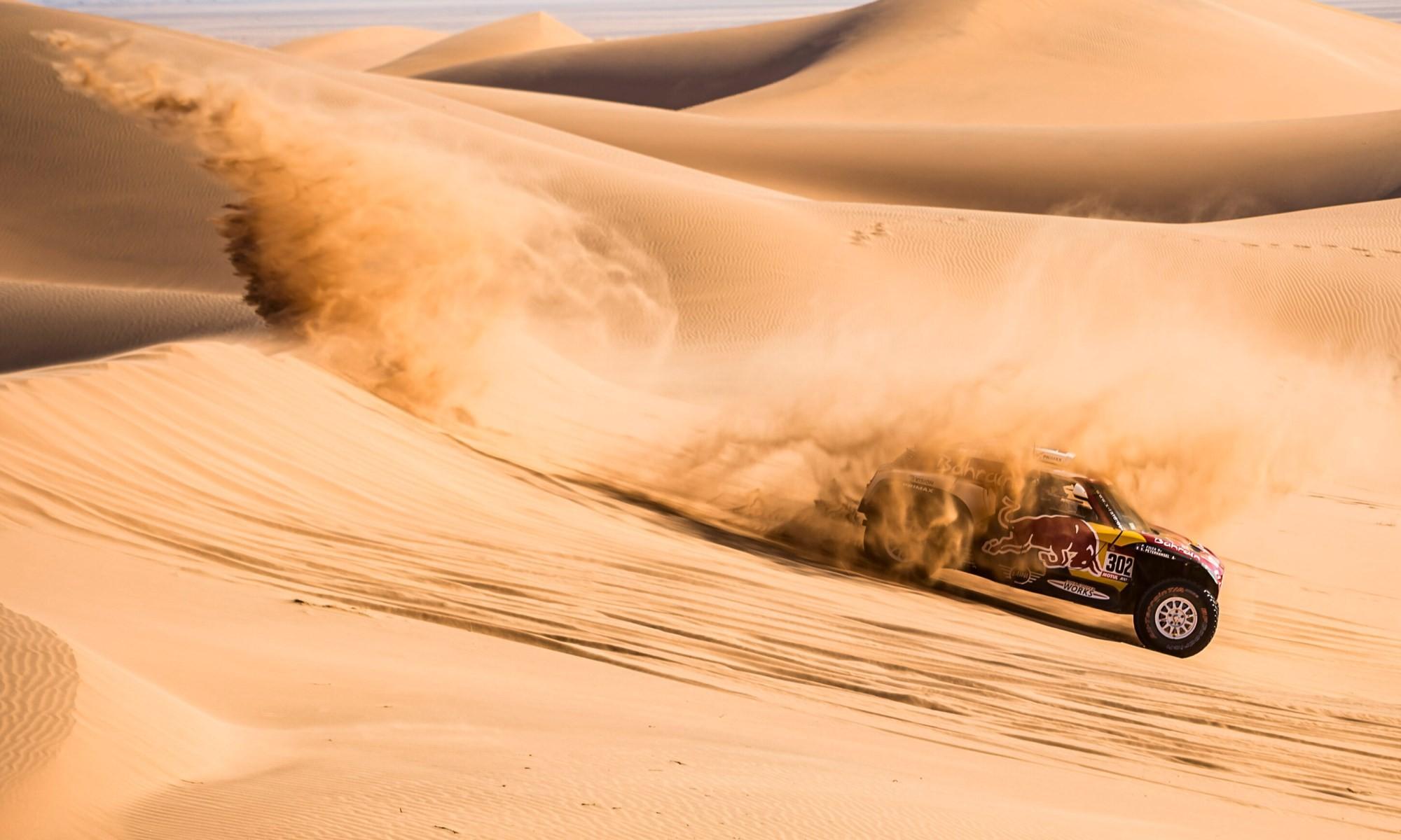 Stephane Peterhansel in action during 2020 Dakar Stage 8
