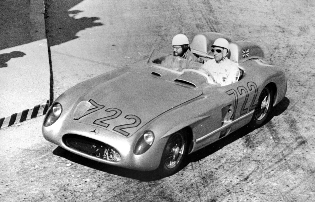Stirling Moss with his co-driver Denis Jenkinson on the Mille Miglia road race in Mercedes-Benz 300SLR (W196S)