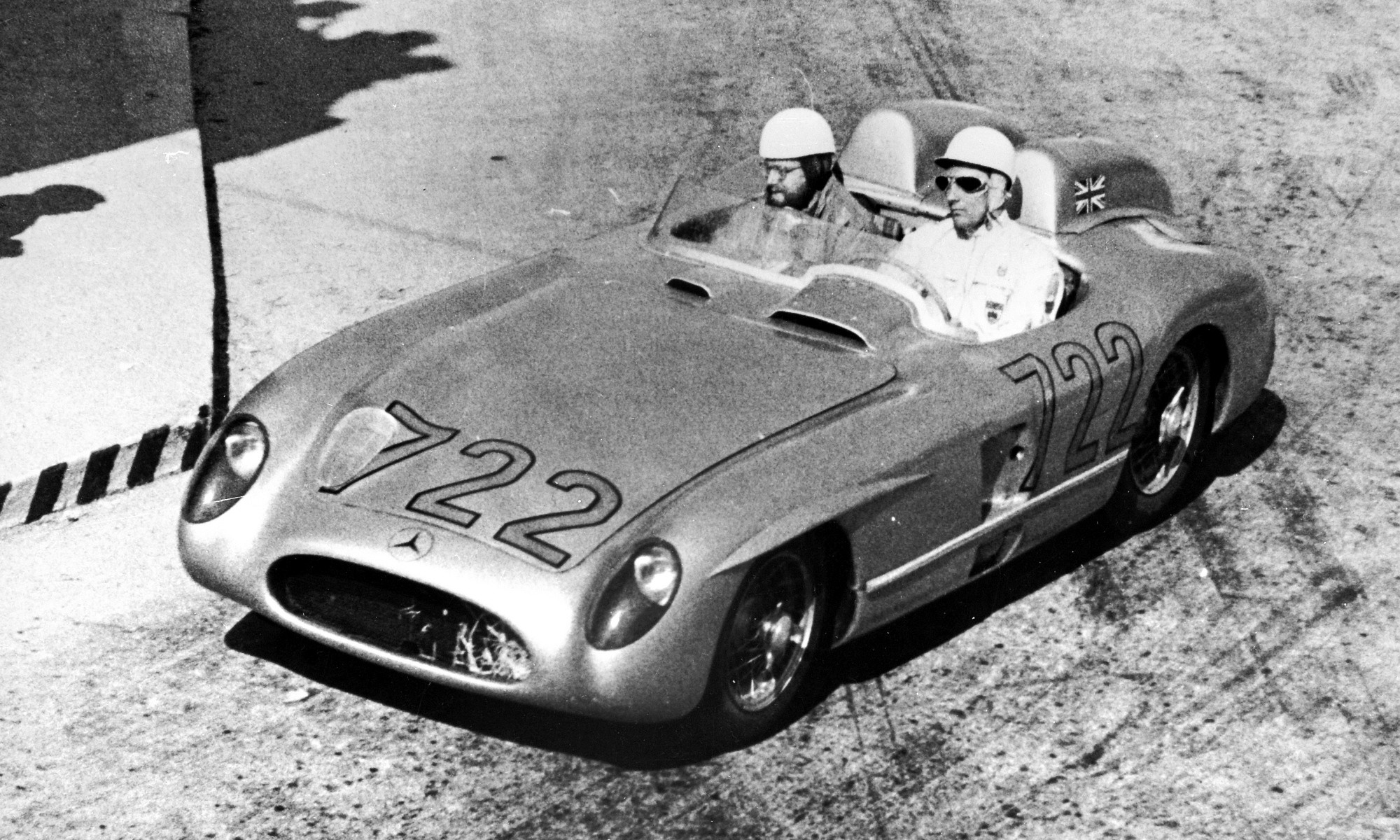 Stirling Moss with his co-driver Denis Jenkinson on the Mille Miglia road race in Mercedes-Benz 300SLR.