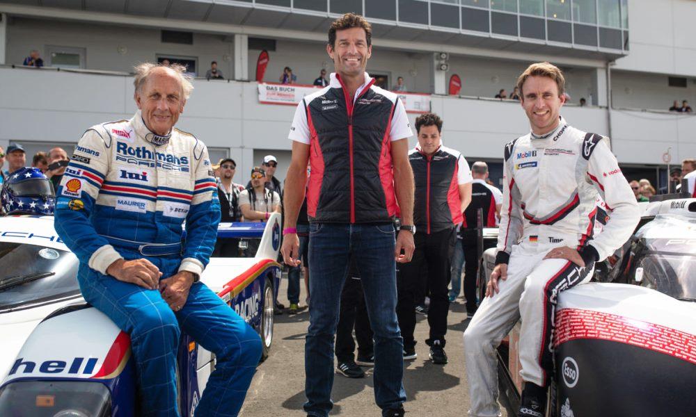 Stuck (left) with Bernhard and Mark Webber (centre)