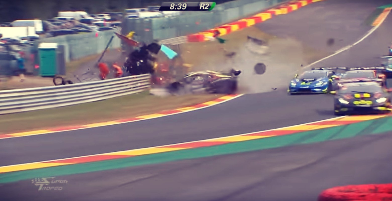 A massive shunt at the Spa-Francorchamps round of Super Trofeo at the weekend saw four marshals and a driver injured.