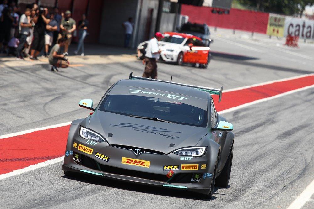 Tesla P100D racecar in pit lane