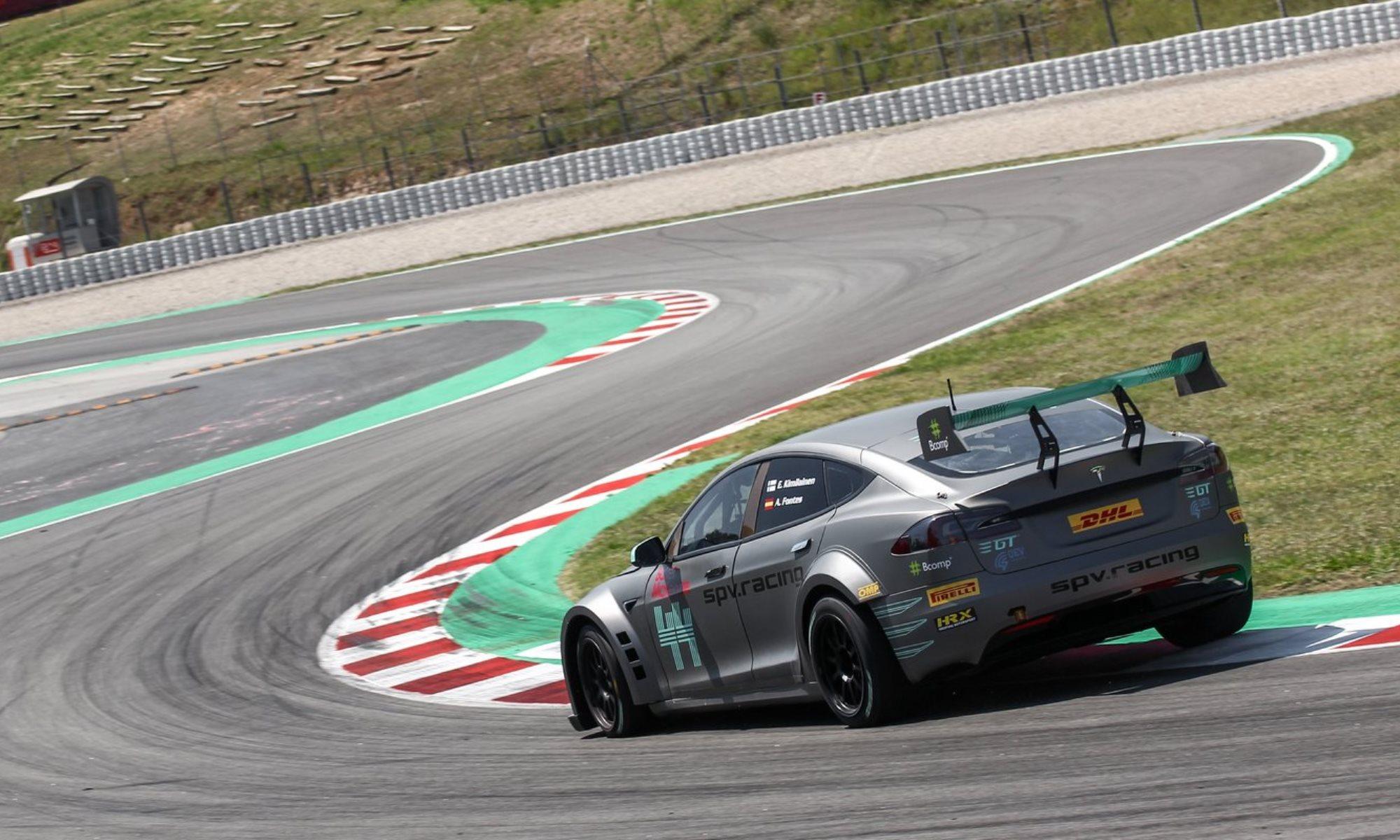 Tesla P100D racer on track rear