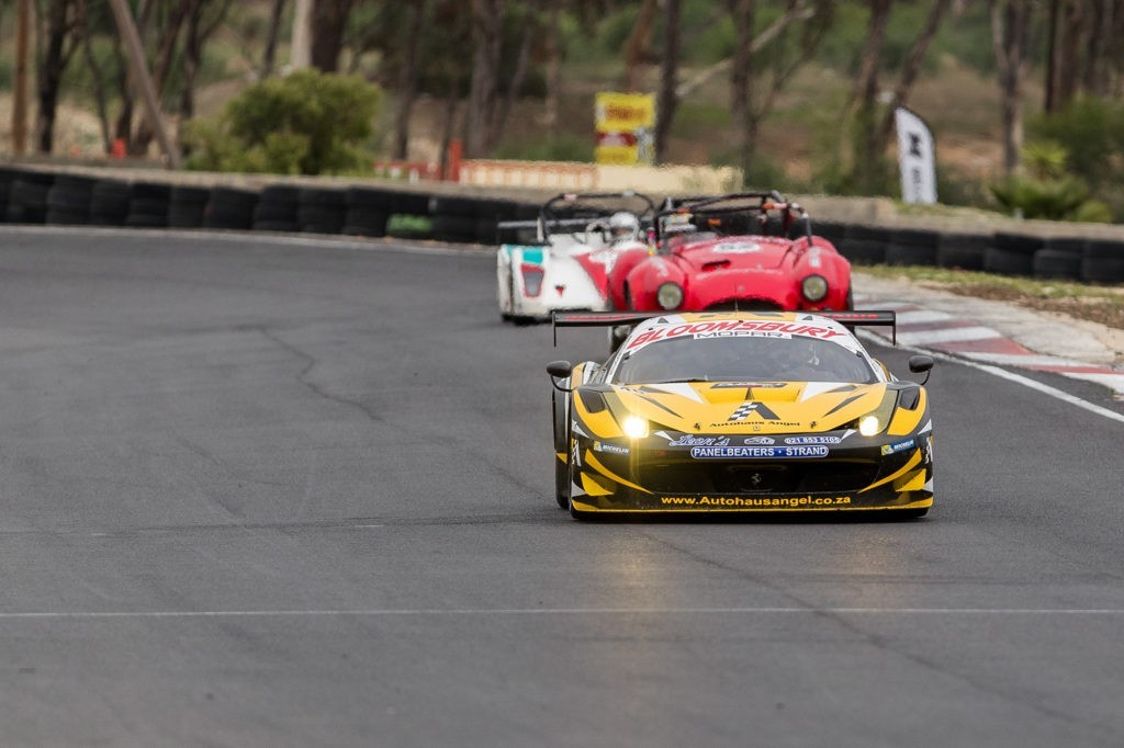 The Autohaus Angel Ferrari 458 GT3 of Angel and Angel, ahead of a Cobra and sports prototype, would go on to finished second overall one lap adrift of the winners.
