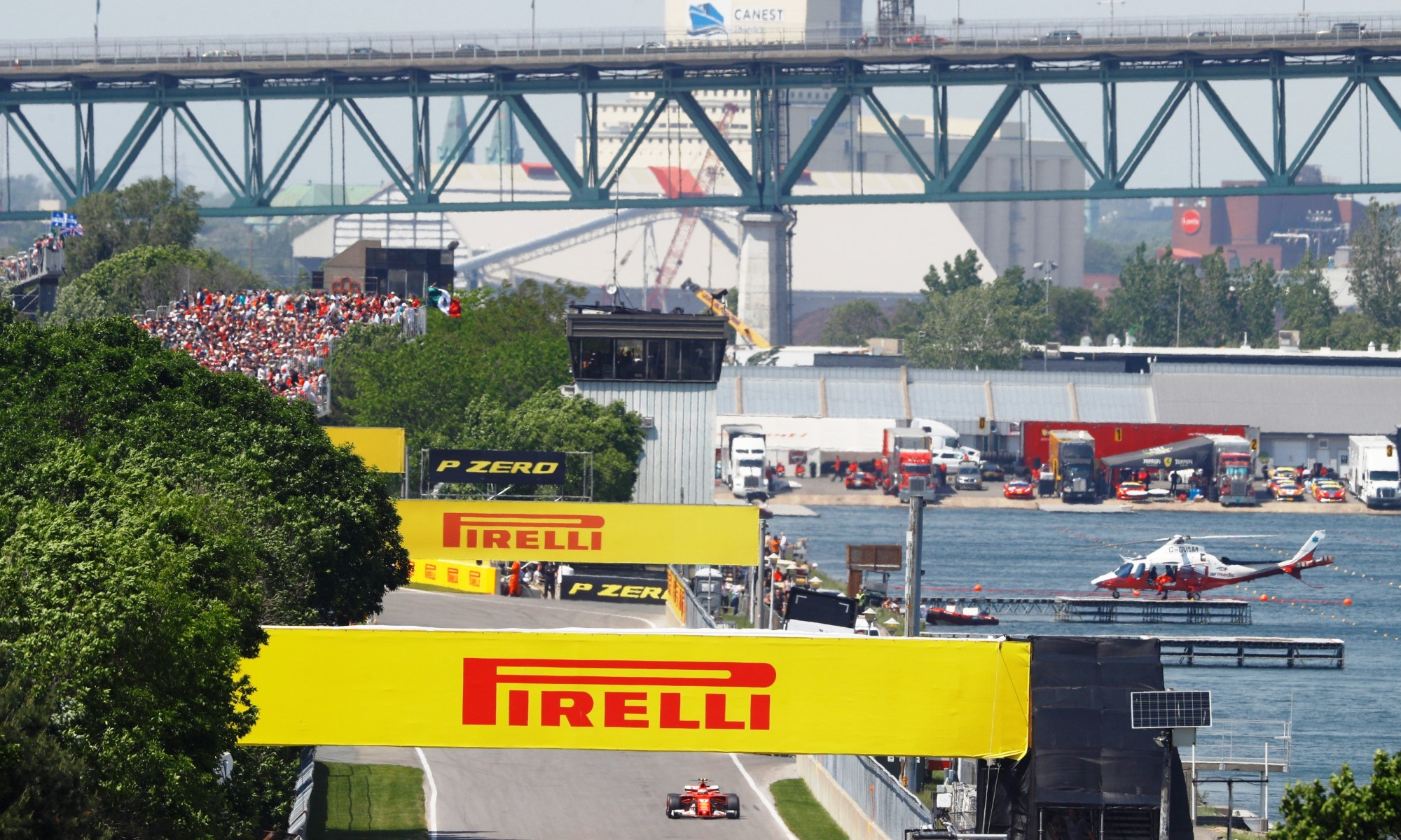 The Canadian Grand Prix circuit sits in a waterway.