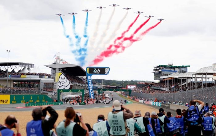 The French Air Force formed the Tri Colore ahead of the start