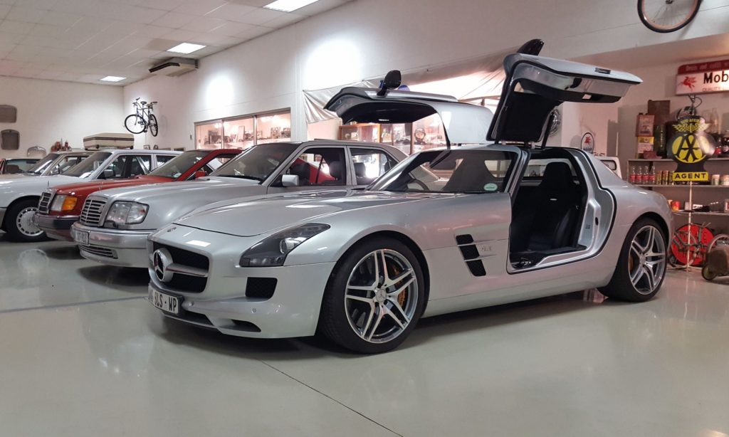 The SLS AMG aka the modern Gullwing with its wings up.