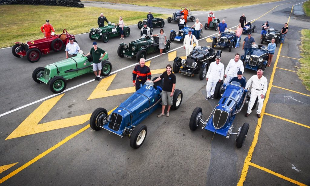 The full line-up of historic racers that took part in the track event.