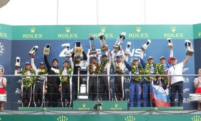 The overall podium finishers at the 2019 Le Mans race