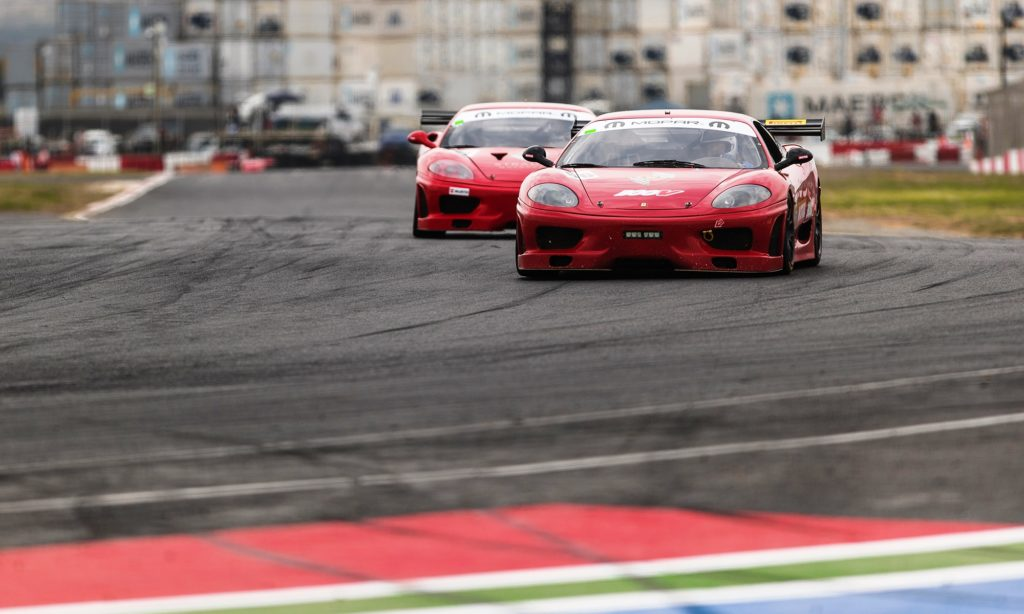 The pair of Stradale Motorsport Ferrari 360 Challenge cars ran in close proximity for much of the race.