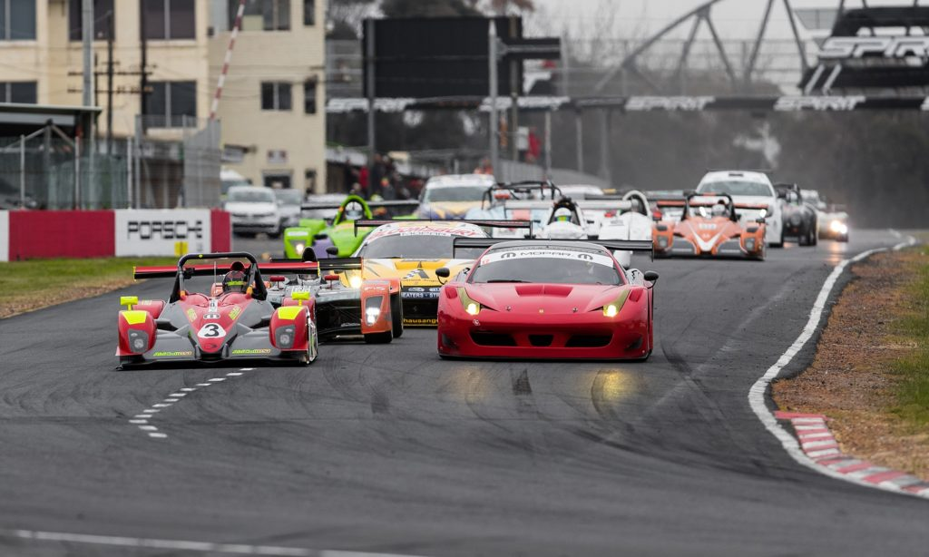 The varied field bunched up at the start of the SA Endurance Serie Campos 600. Leading the charge are a Ligier (left) and Ferrari 458 GT3.