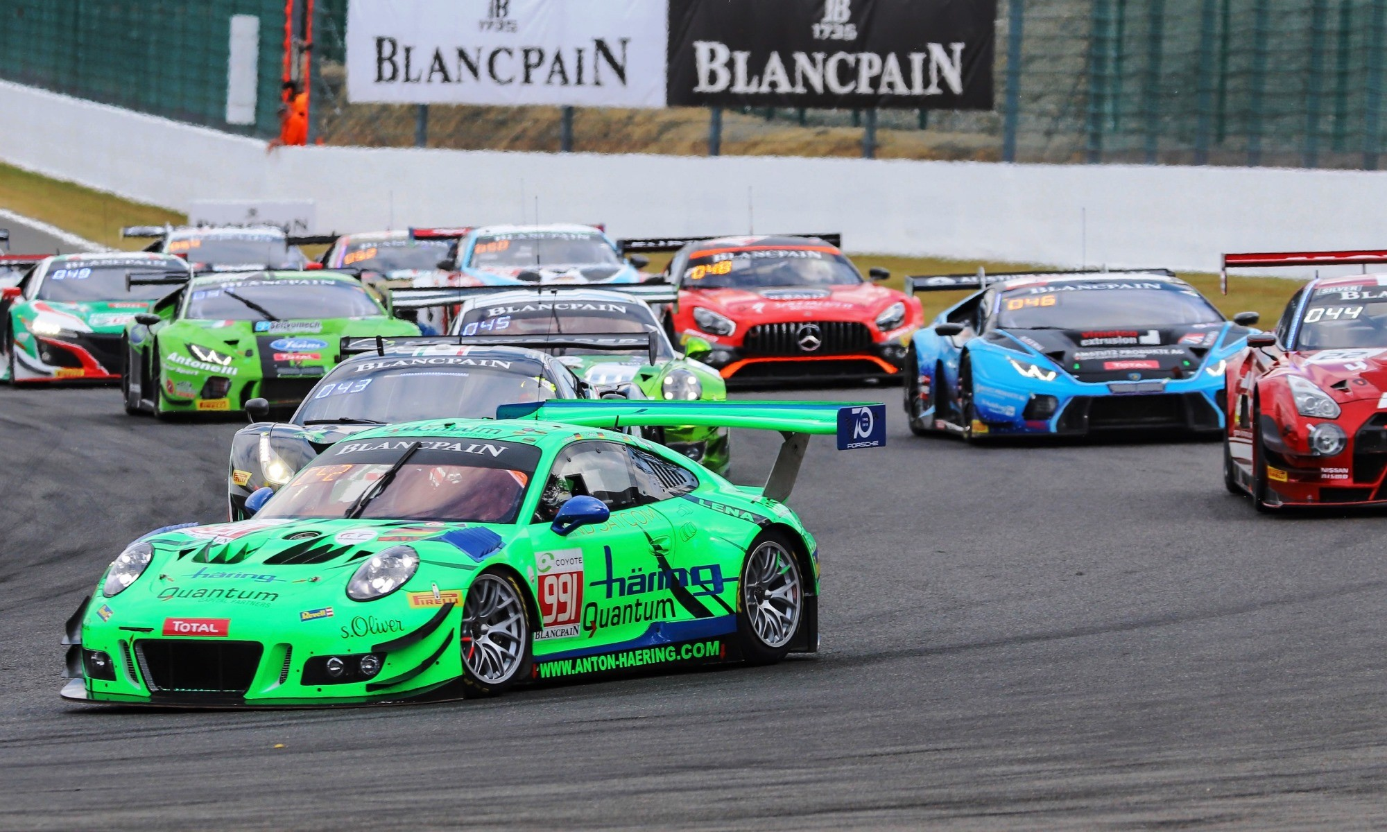 There is close racing action throughout the GT field.