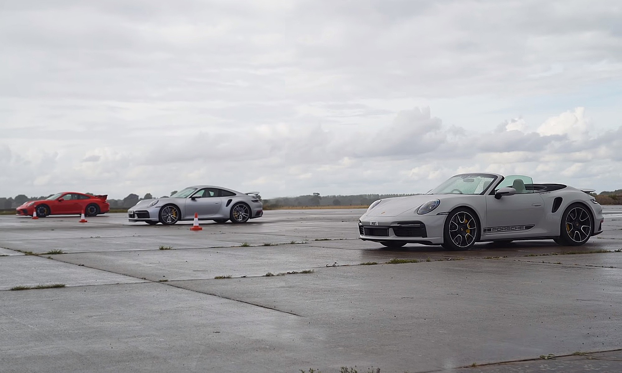 Three-way Porsche drag race