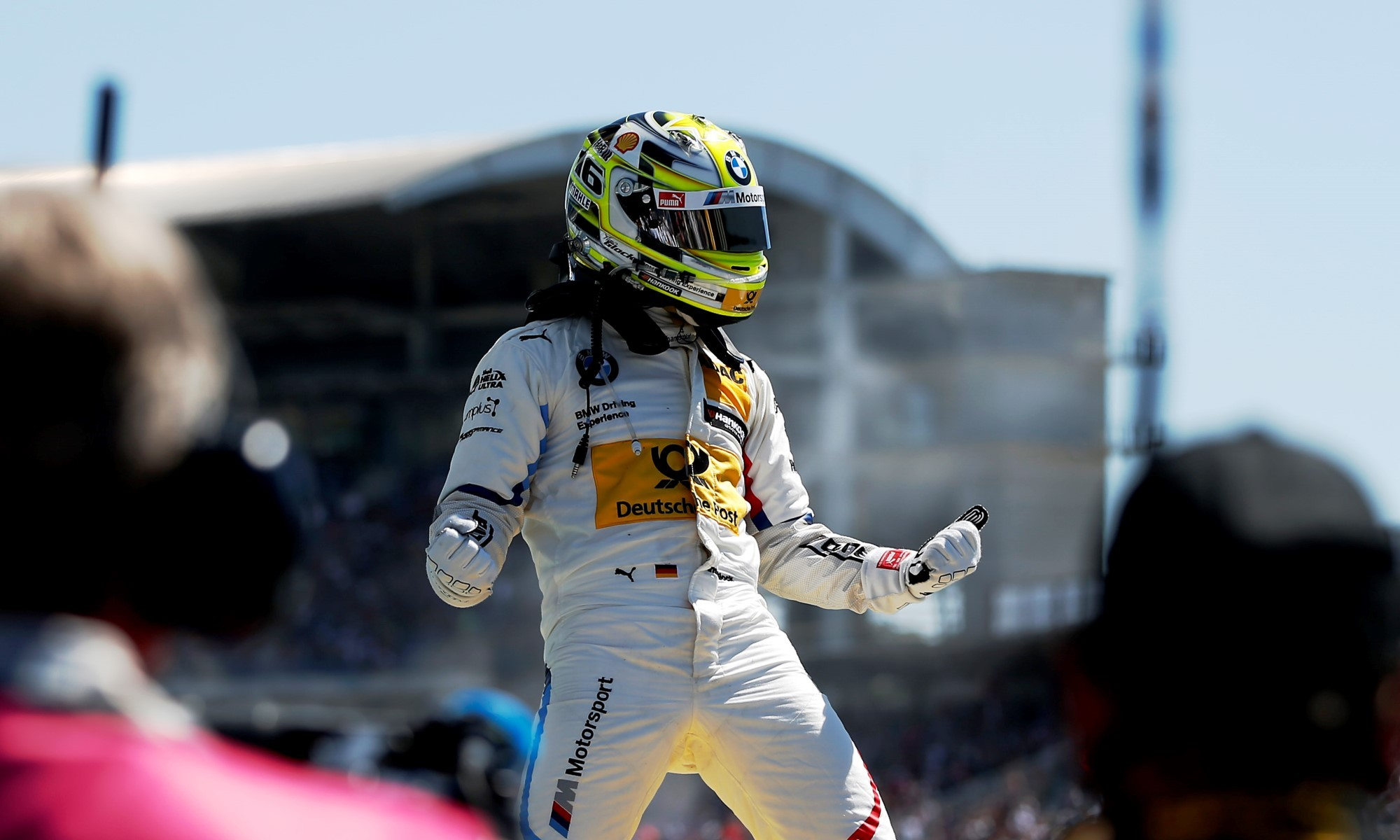 Timo Glock celebrates after his win
