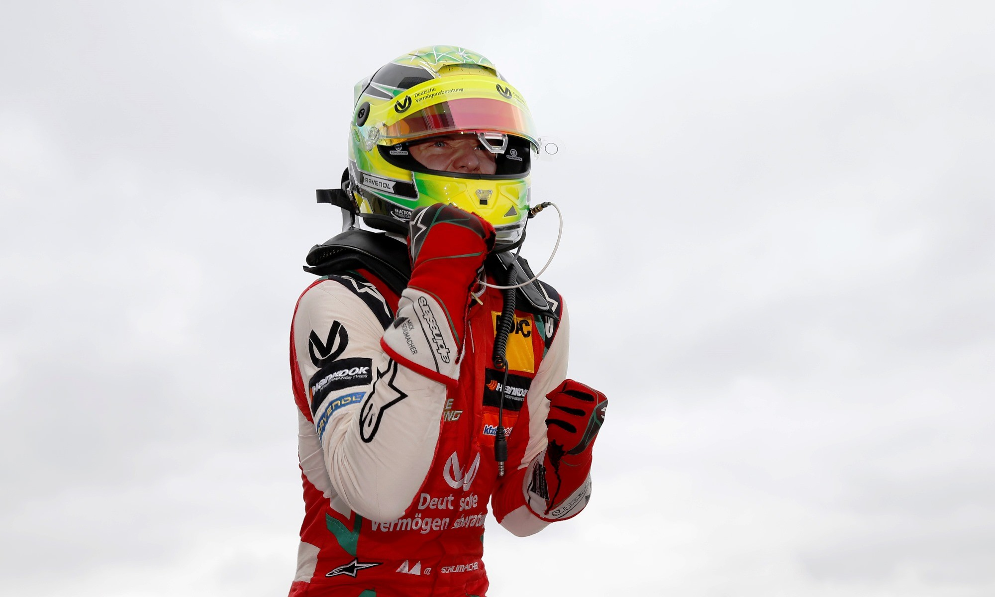 The young Schumacher celebrates on Saturday
